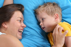 Fun in bed Stock Photography