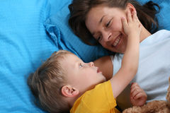 Fun in bed Royalty Free Stock Images