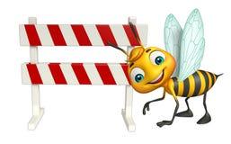 Fun Bee cartoon character  with baracades Royalty Free Stock Photos