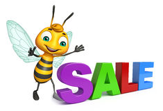 fun Bee cartoon character with big sale sign Royalty Free Stock Photo