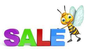 Fun Bee cartoon character with big sale sign Royalty Free Stock Photography