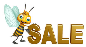 fun Bee cartoon character with big sale sign Royalty Free Stock Photos