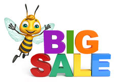 Fun Bee cartoon character with big sale sign. 3d rendered illustration of Bee cartoon character with big sale sign Stock Images
