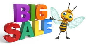 fun Bee cartoon character with big sale sign Stock Photos