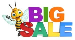 Fun Bee cartoon character with big sale sign. 3d rendered illustration of Bee cartoon character with big sale sign Stock Photo
