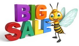 Fun Bee cartoon character with big sale sign. 3d rendered illustration of Bee cartoon character with big sale sign Royalty Free Stock Photos