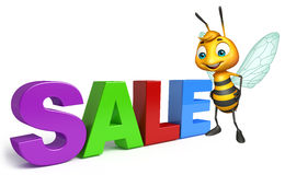 Fun Bee cartoon character with big sale sign. 3d rendered illustration of Bee cartoon character with big sale sign Stock Image