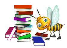 Fun Bee cartoon character with book stack Royalty Free Stock Photos