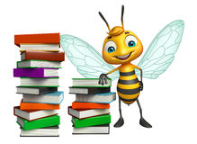Fun Bee cartoon character with book stack Stock Photography