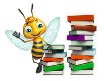 Fun Bee cartoon character with book stack Stock Photo