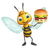Fun Bee cartoon character with burger. 3d rendered illustration of Bee cartoon character with burger Royalty Free Stock Images