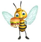 Fun Bee cartoon character with burger Stock Images