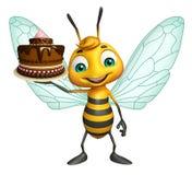 fun Bee cartoon character with cake stock illustration