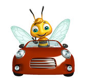 Fun Bee cartoon character with car. 3d rendered illustration of Bee cartoon character with car stock illustration