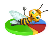 Fun Bee cartoon character with circle sign Stock Photo