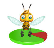 Fun Bee cartoon character with circle sign Royalty Free Stock Photography