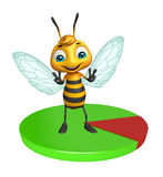 Fun Bee cartoon character with circle sign. 3d rendered illustration of Bee cartoon character with circle sign Royalty Free Stock Photos