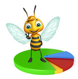 Fun Bee cartoon character with circle sign Stock Images