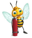 Fun Bee cartoon character  with fire extinguisher. 3d rendered illustration of Bee cartoon character with fire extinguisher Stock Photo