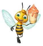 fun Bee cartoon character  with ice cream Stock Photography