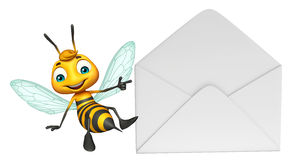Fun Bee cartoon character with mail Stock Photos