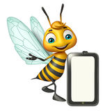 Fun Bee cartoon character with mobile Royalty Free Stock Photos