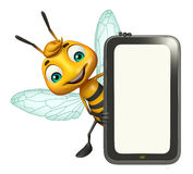Fun Bee cartoon character with mobile Royalty Free Stock Image