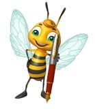 Fun Bee cartoon character with pen Stock Image
