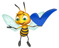 Fun Bee cartoon character with right sign. 3d rendered illustration of Bee cartoon character with right sign Royalty Free Stock Photography