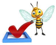Fun Bee cartoon character with right sign. 3d rendered illustration of Bee cartoon character with right sign Stock Photo