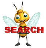 Fun Bee cartoon character with search sign. 3d rendered illustration of Bee cartoon character with search sign Royalty Free Stock Photos