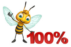 Fun Bee cartoon character with 100% sign. 3d rendered illustration of Bee cartoon character with 100% sign Royalty Free Stock Image