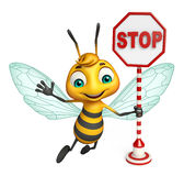 Fun Bee cartoon character with stop sign. 3d rendered illustration of Bee cartoon character with stop sign Royalty Free Stock Image