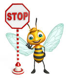 Fun Bee cartoon character with stop sign. 3d rendered illustration of Bee cartoon character with stop sign Stock Image