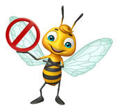 Fun Bee cartoon character with stop sign. 3d rendered illustration of Bee cartoon character with stop sign Stock Photography