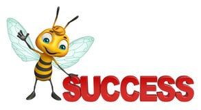 Fun Bee cartoon character with success sign. 3d rendered illustration of Bee cartoon character with success sign Royalty Free Stock Photography
