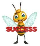 Fun Bee cartoon character with success sign. 3d rendered illustration of Bee cartoon character with success sign Stock Photo