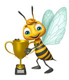 Fun Bee cartoon character with winning cup. 3d rendered illustration of Bee cartoon character with winning cup Stock Photos