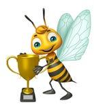 Fun Bee cartoon character with winning cup Stock Photos