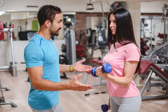 Fun biceps workout with dumbbells Stock Image