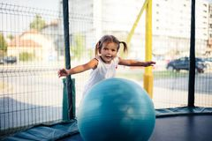Fun with big ball. stock images