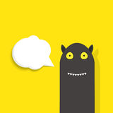 Fun black monster with speech bubble Royalty Free Stock Photos
