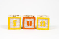 Fun in block letters. Fun in childs block letters royalty free stock images