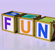 Fun Blocks Mean Joy Pleasure And Excitement. Fun Blocks Meaning Joy Pleasure And Excitement Stock Image