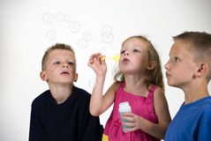 Fun Blowing Bubbles Royalty Free Stock Photography