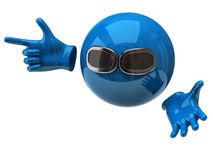 Fun blue spher with sun glasses Royalty Free Stock Image