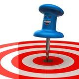 Fun blue thumbtack in target Royalty Free Stock Photo