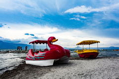 Fun with boat. Travelling to samosir island royalty free stock photography