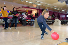 Fun in bowling center. Fun in the bowling center stock images