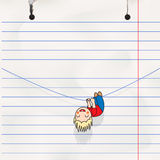 Fun boy hanging on the rope, child's notebook page Royalty Free Stock Images